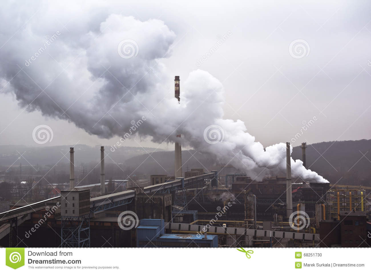 Pollution Cheminées Factory With Many Smokestacks And Big Smoke Air Pollution
