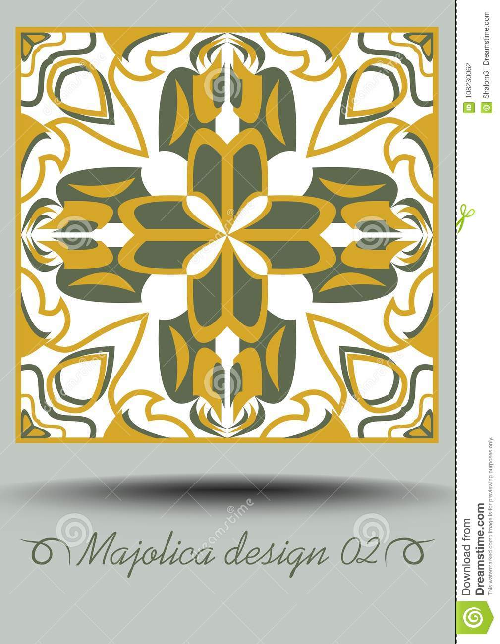 Faience Design Faience Ceramic Tile In Nostalgic Ocher And Olive Green Design