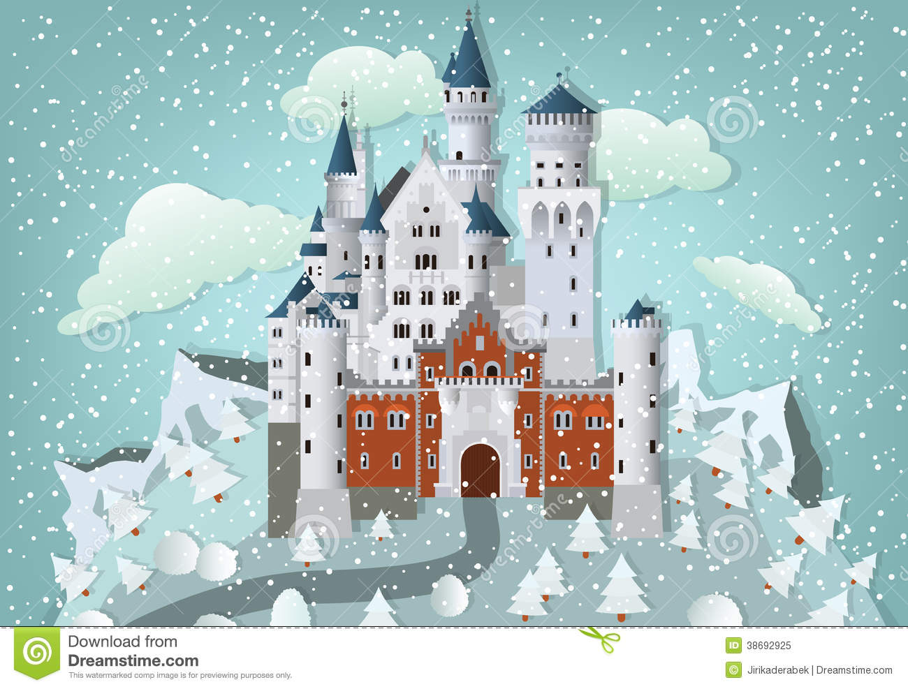 Free Snow Falling Wallpaper Fairytale Castle In Winter Royalty Free Stock Photo