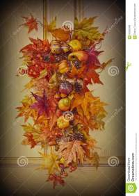 Fall Leaves Door Decoration Stock Photo - Image: 60556369