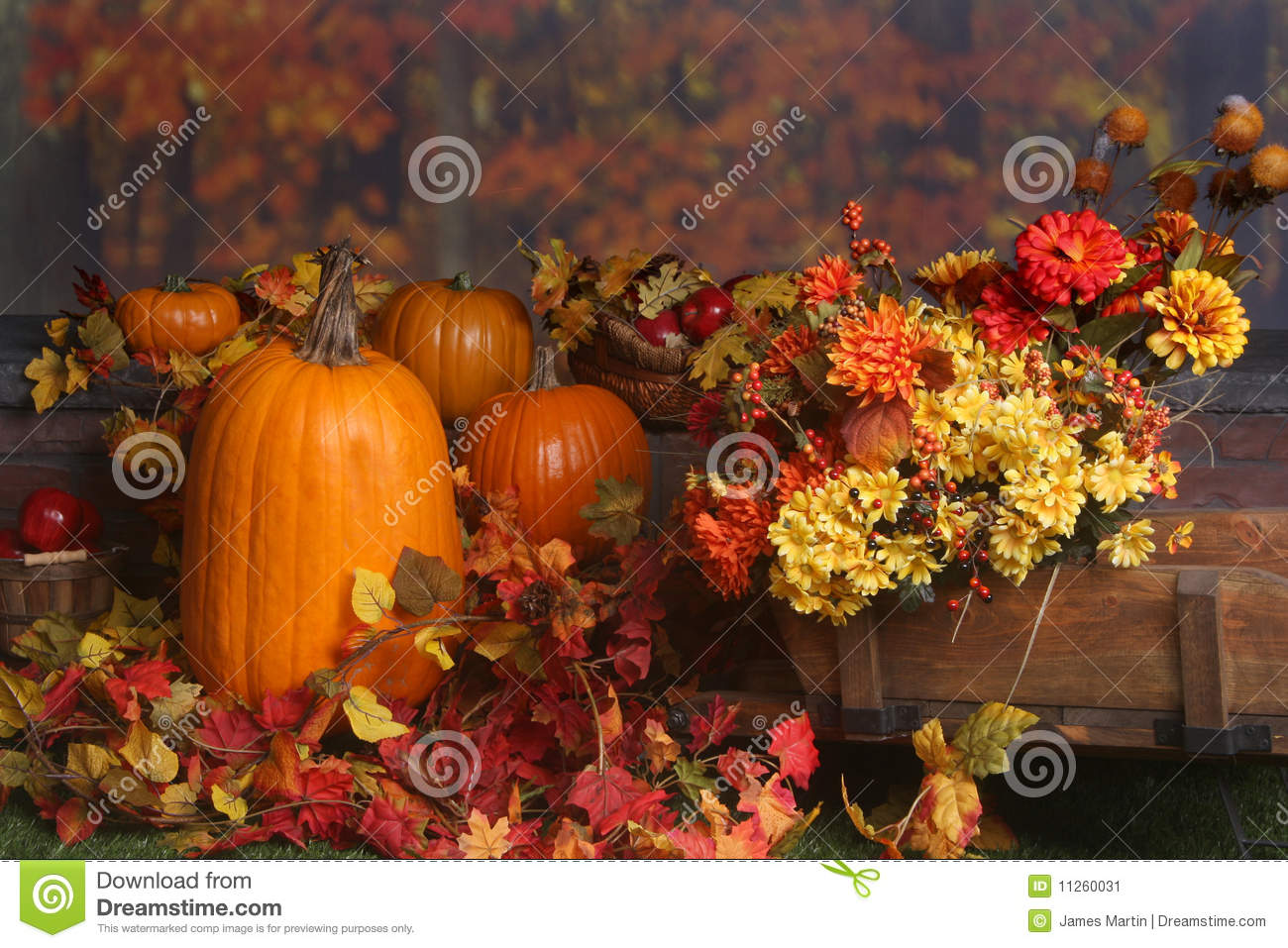 Fall Outdoor Decorations Wallpaper Fall Scene With Pumpkins And Colored Leaves Stock Image