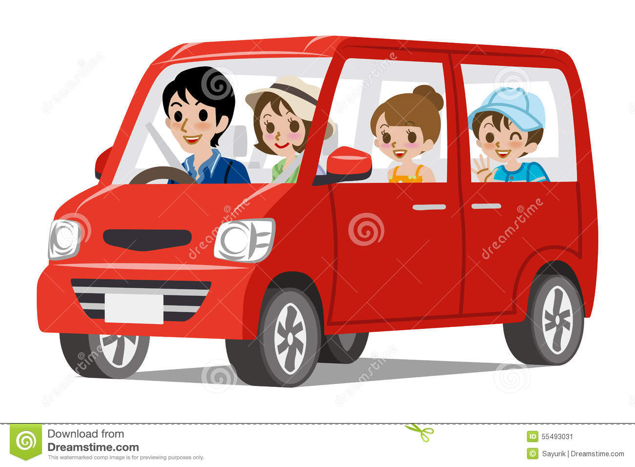 What Family Car Family Car Driving Side View Stock Vector Image 55493031