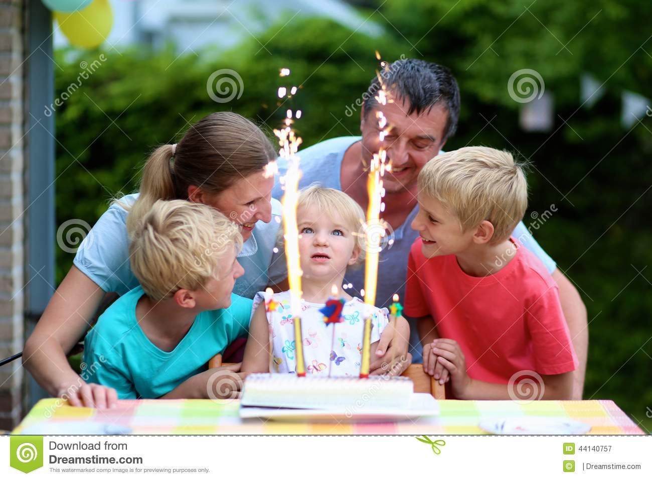 Toddler 2 Years Old Birthday Family Celebrating Daughter S Two Years Birthday Stock Image
