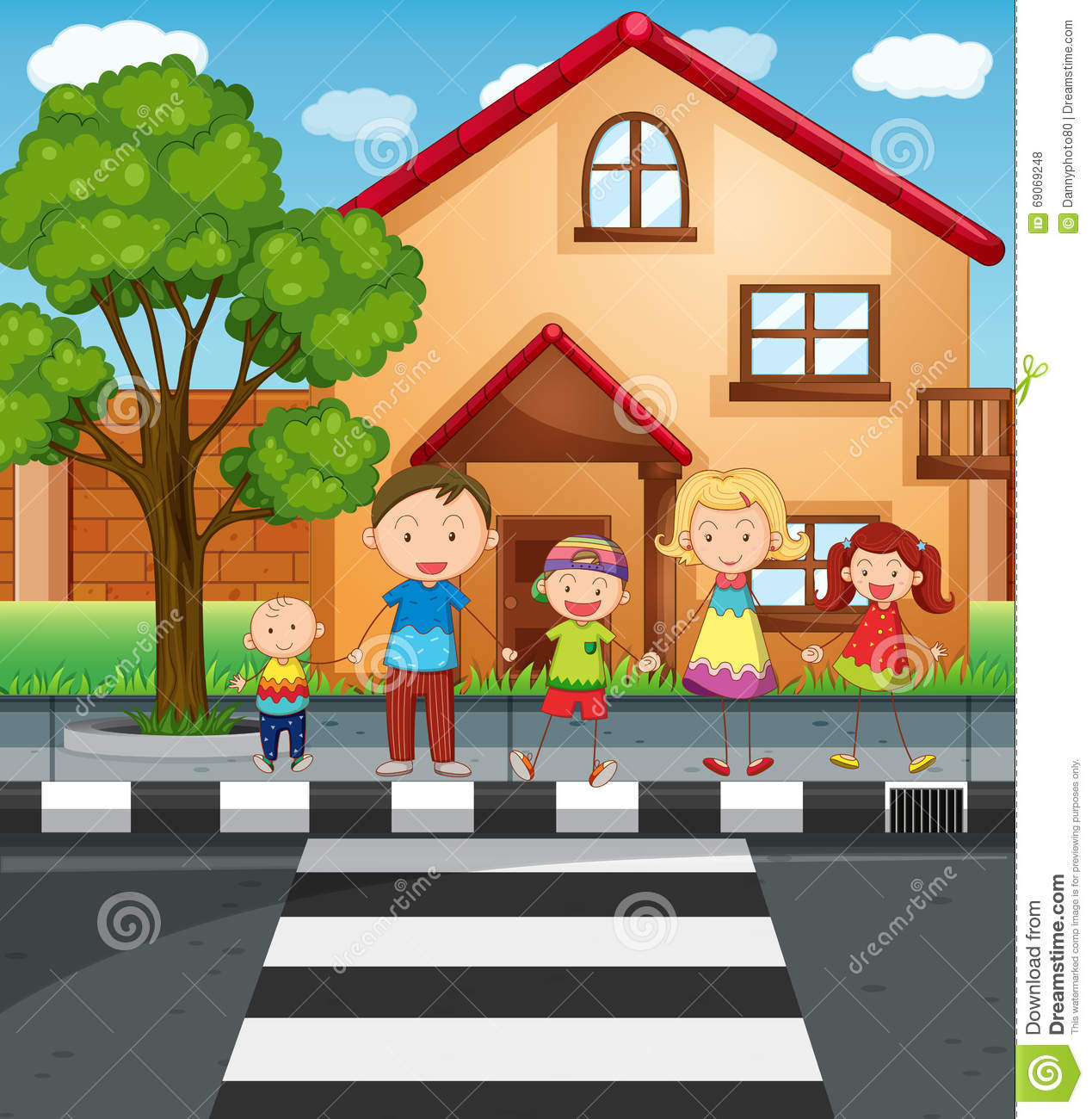 Road Crossing Clipart Family Holding Hands While Crossing The Road Stock Vector