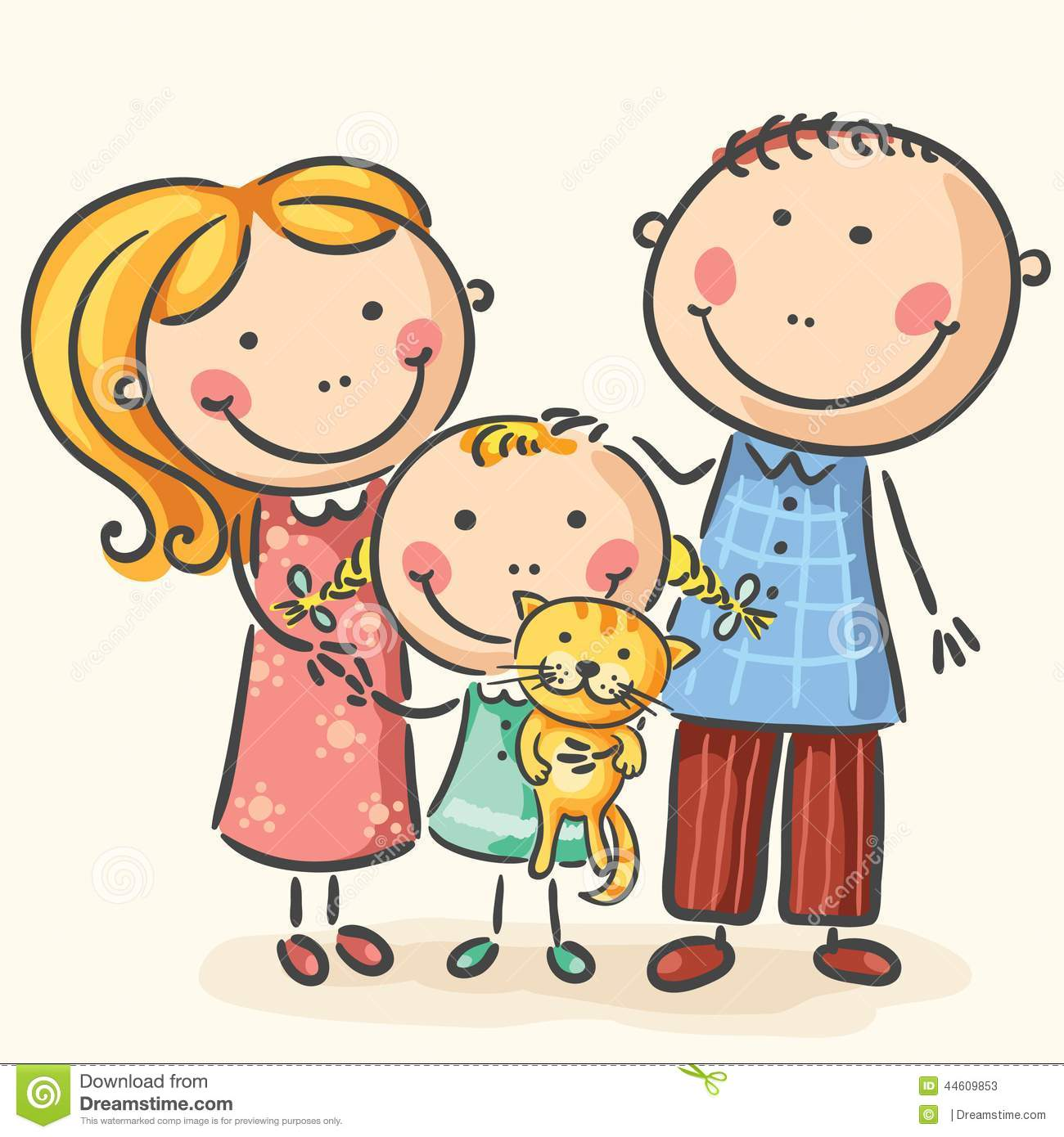 Happy Family Life Clip Art Family With One Child And A Cat Stock Vector