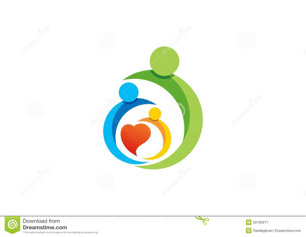 Care Design Family Parent Kid Heart Logo Parenting Care Circle Health