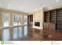 Family room with fireplace stock photo. Image of