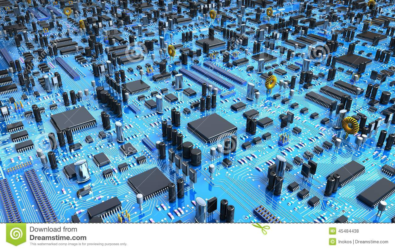 Motherboard Wallpaper 3d Fantasy Circuit Board 3d Illustration Stock Illustration