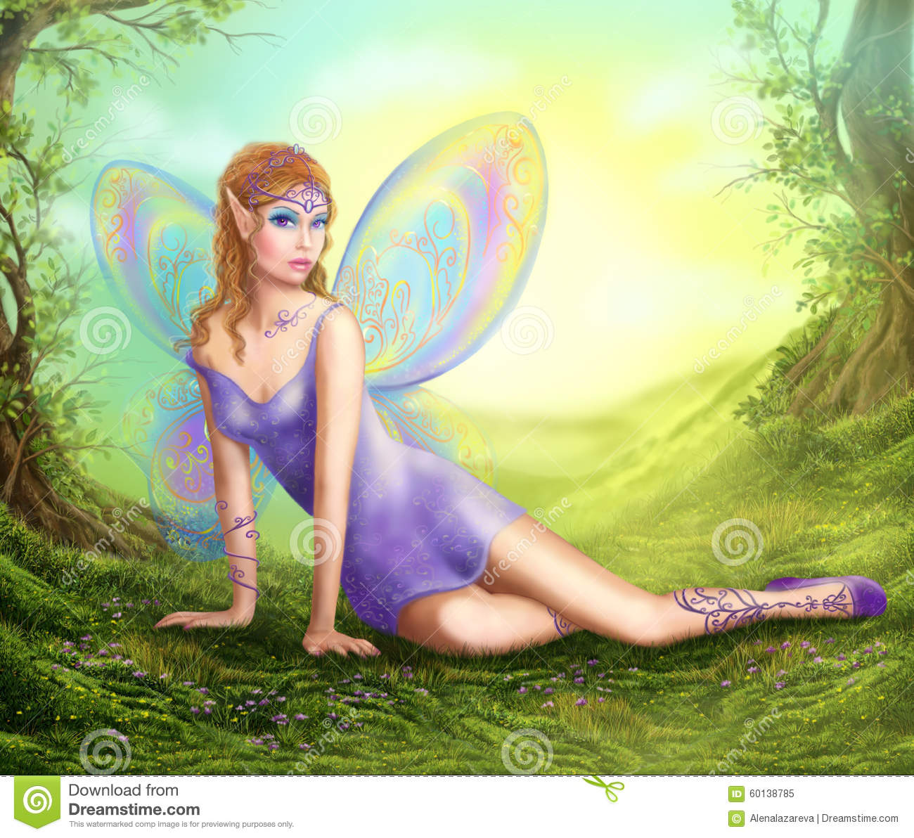 Little Princess Girl Wallpaper Fantasy Fairy Butterfly Sits On Grass In Wood Stock