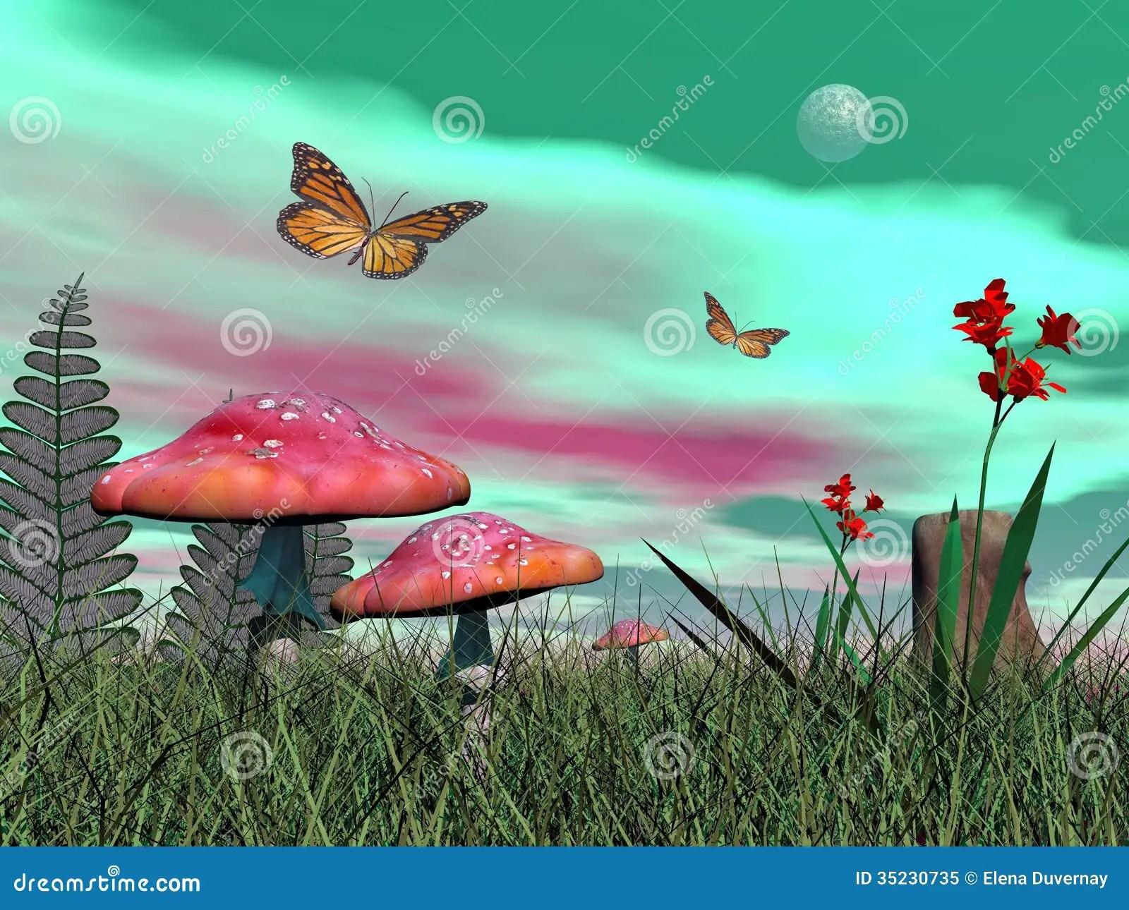 3d Mushroom Garden Hd Wallpaper Download Fantasy Garden 3d Render Stock Illustration