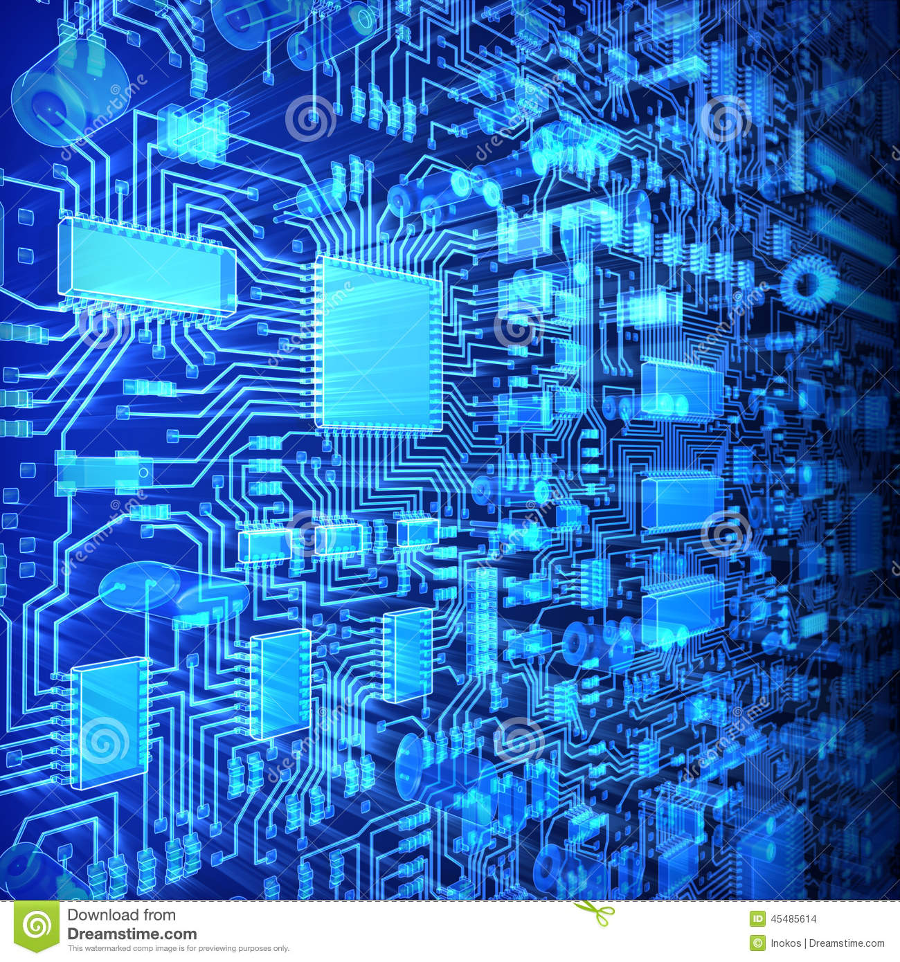 3d Colour Wallpaper Free Download Fantasy Glowing Circuit Board Or Mainboard Technology