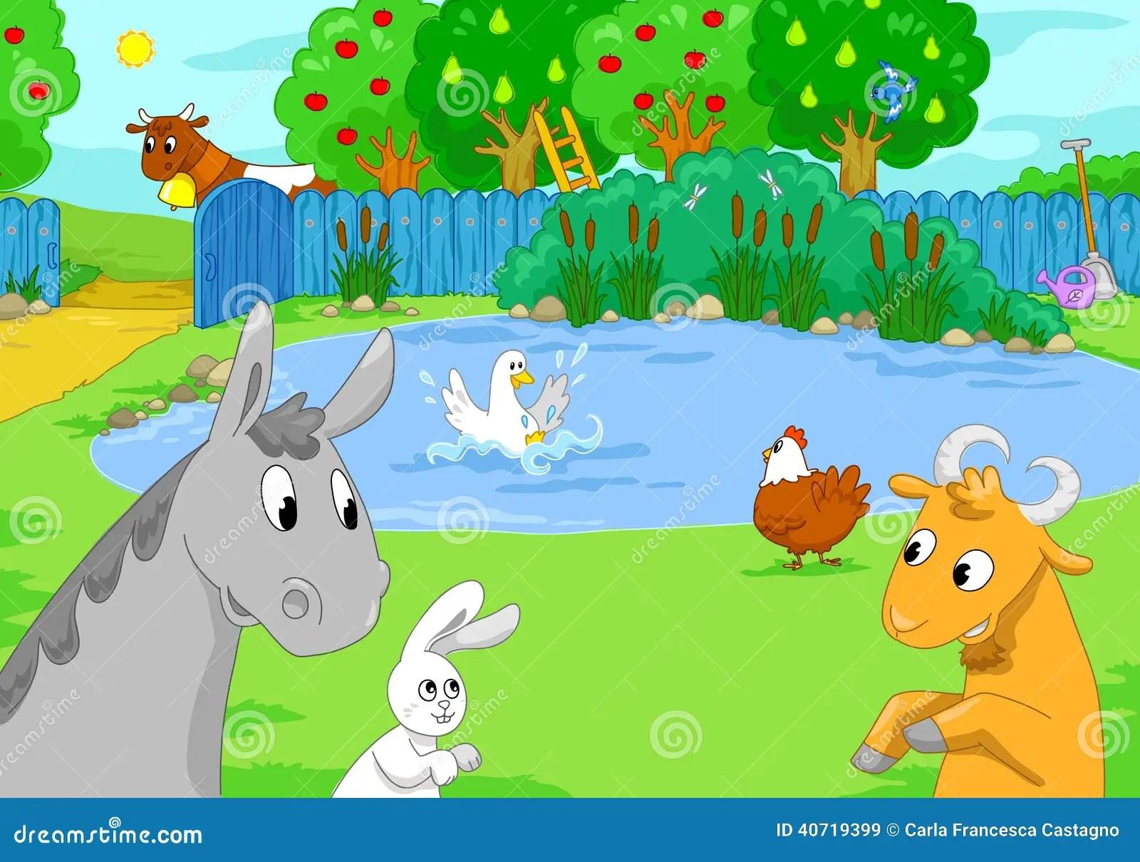 Cute Ducks In Water Wallpaper Farm Animals At The Lake Children Illustration Stock