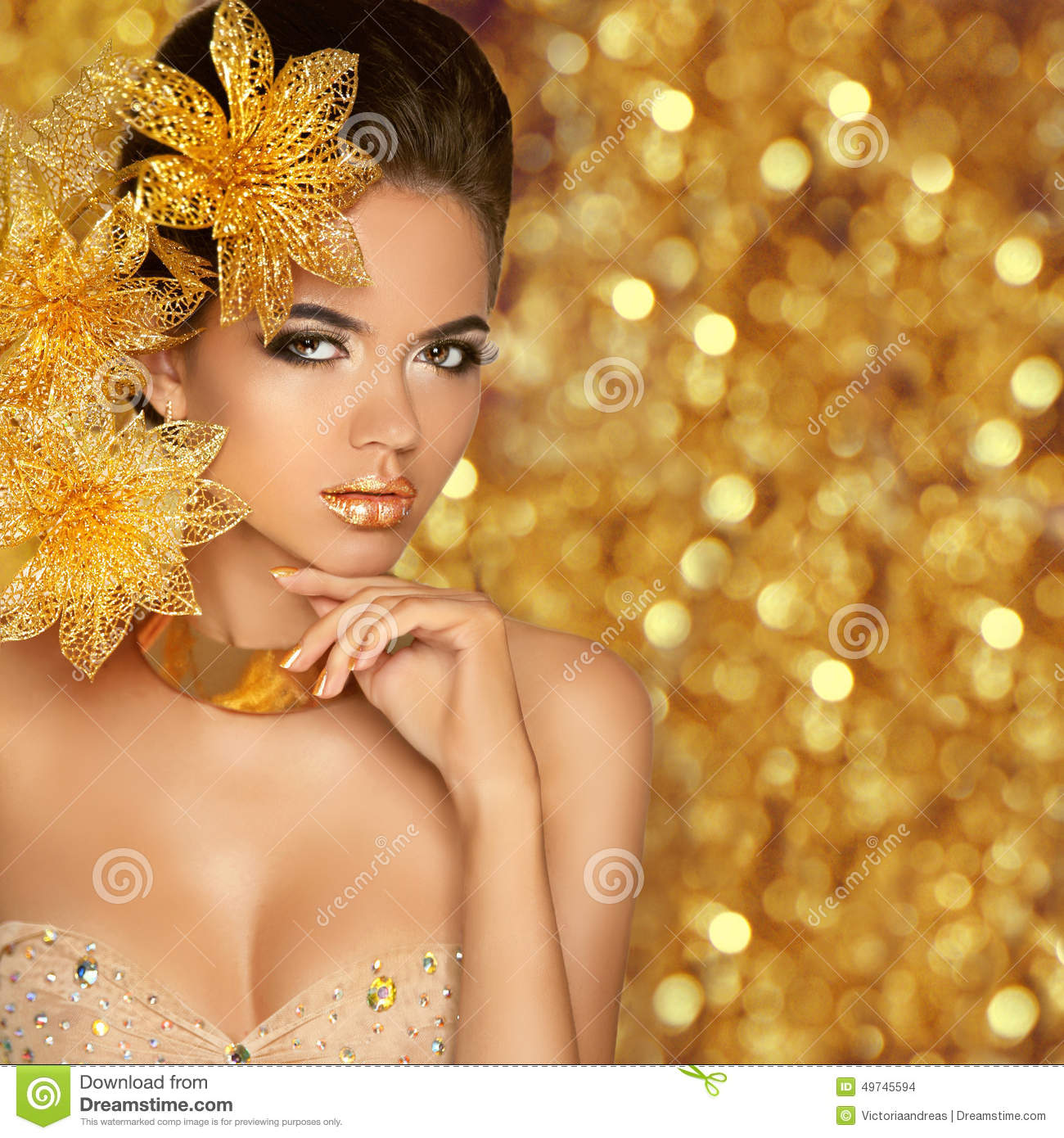 Glam Fall Background Wallpaper Fashion Beauty Girl Portrait Isolated On Golden Christmas