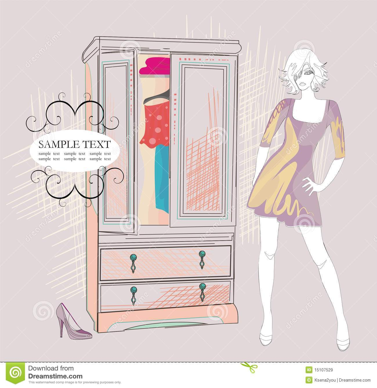 Cartoon Girl Wallpapers Free Download Fashion Girl And Her Closet Stock Vector Illustration Of