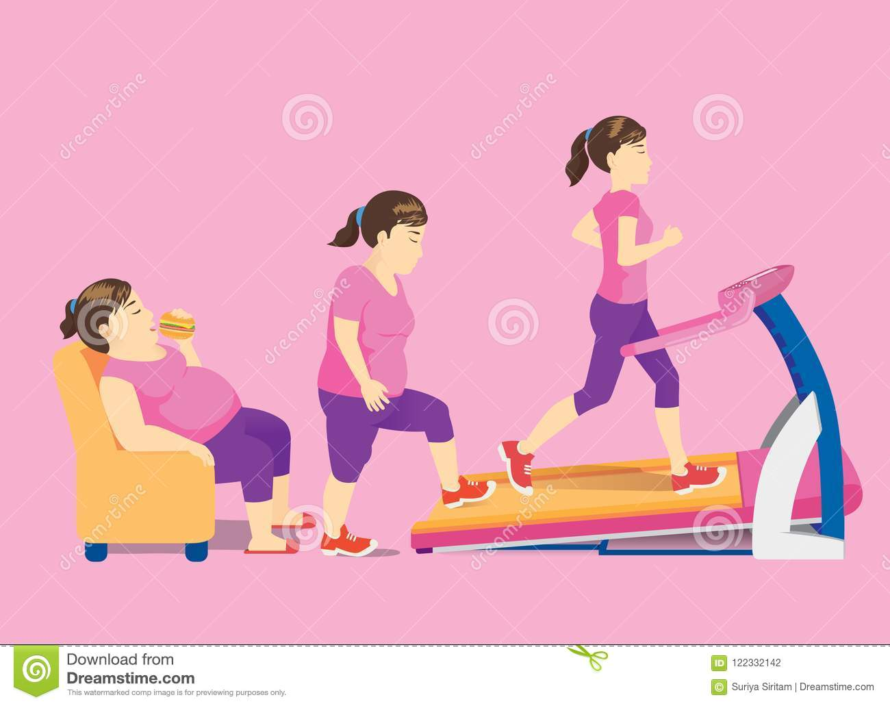 Sofa Workout Fat Woman On Sofa Change Her Body With Rise Up For Workout Stock