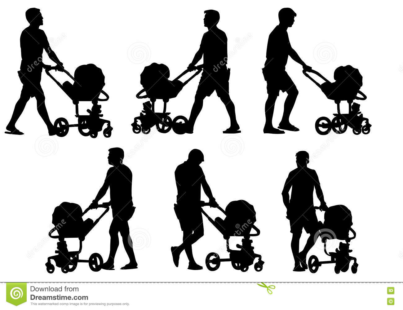 Baby Stroller Clipart Black And White Father With Baby And Pram Stock Vector Illustration Of