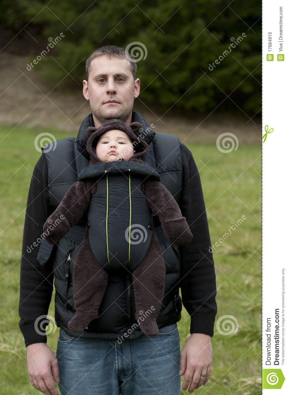 Newborn Toddler Child Father With Front Baby Carrier Stock Photos Image 17684913