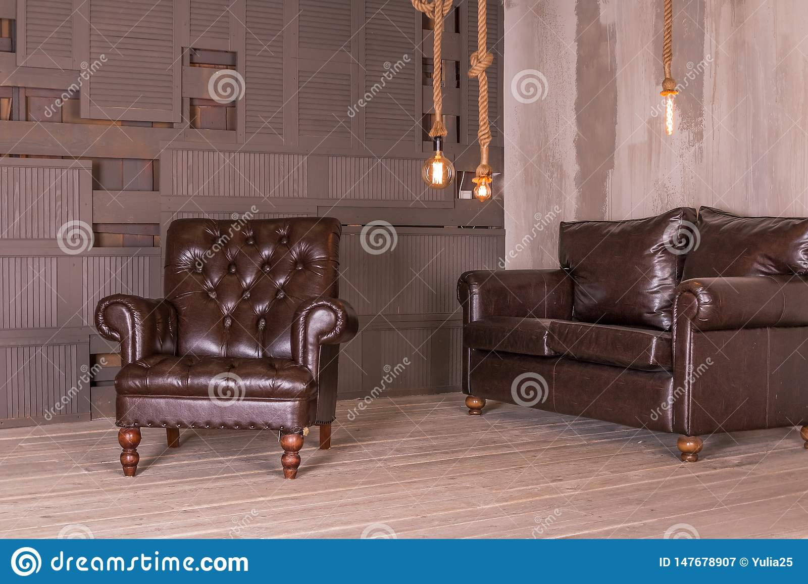 Brown Leather Armchair And Vintage Leather Sofa Interior Composition Retro Furniture Creative Design Copy Space Image Stock Image Du Design Space 147678907