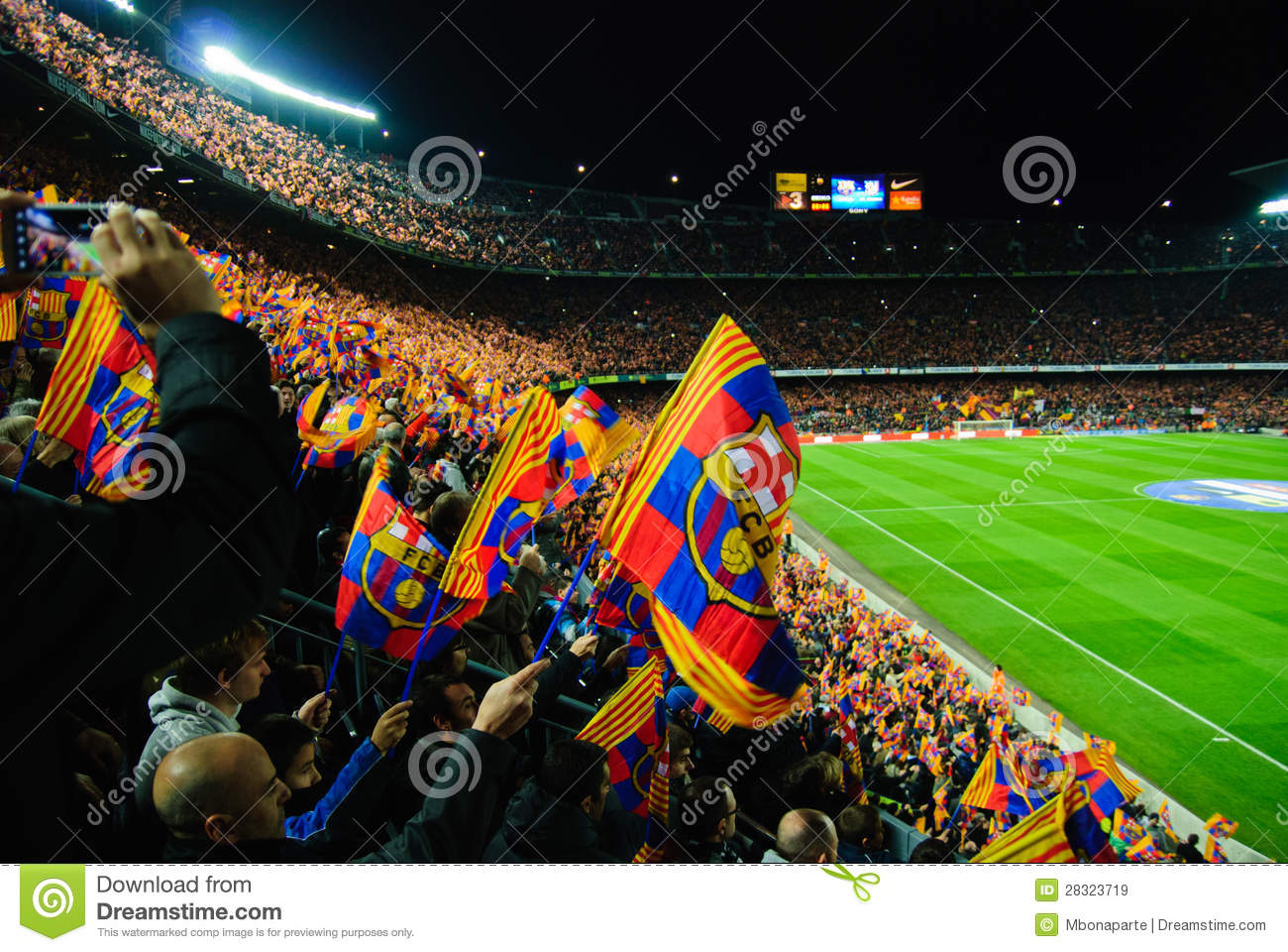 Wallpaper Barcelona Fc 3d Fc Barcelona Football Match Stands Scenery With Flags