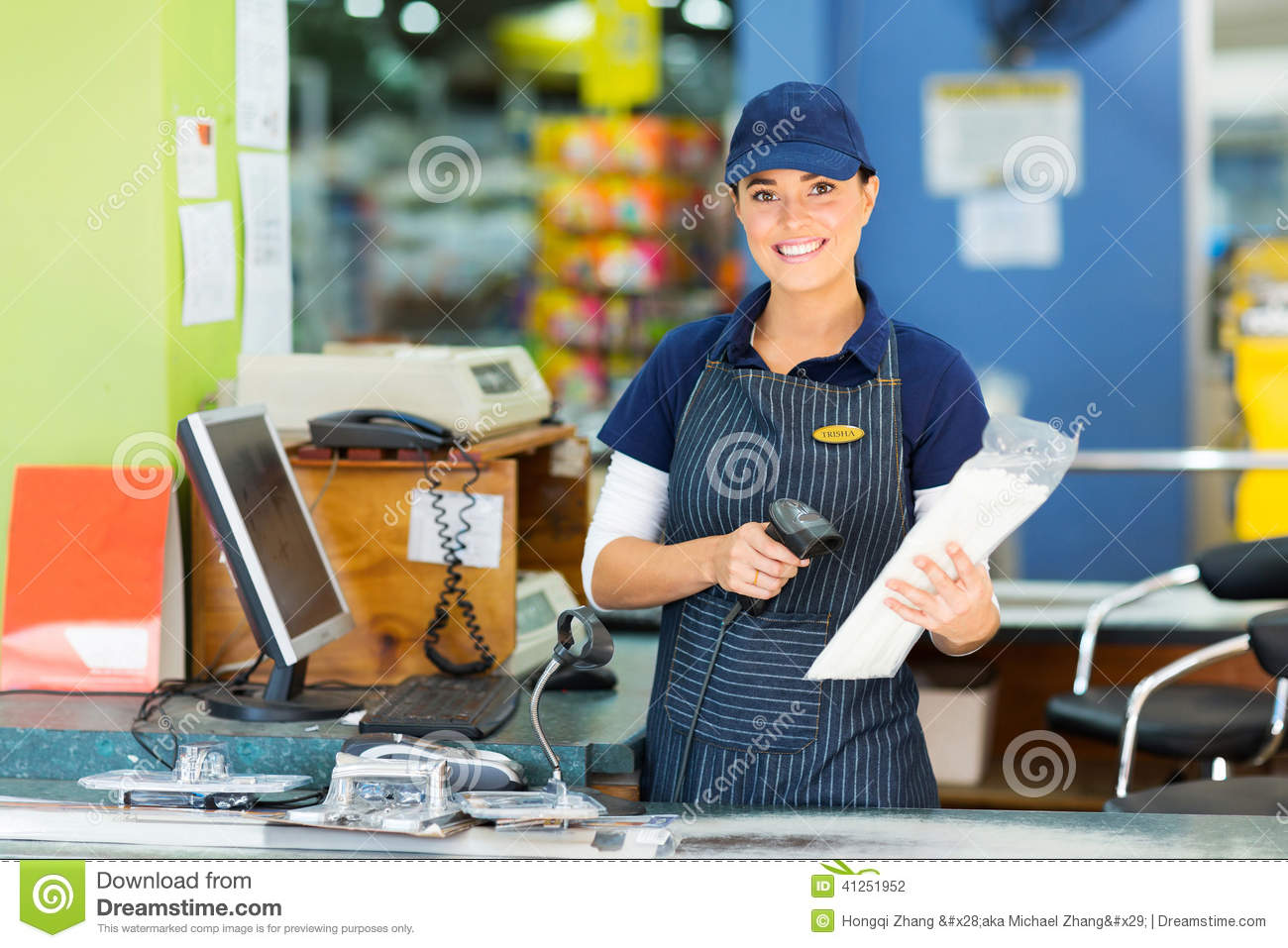Pretty Girl Wallpaper Free Download Female Cashier Store Stock Photo Image Of Assistant