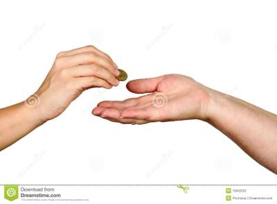 Female Giving Coin To Another Person Stock Photography - Image: 15842022