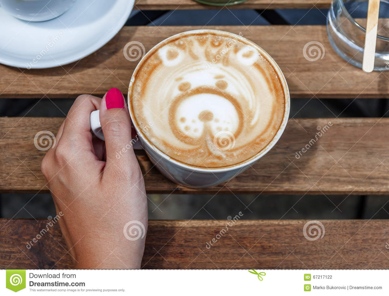 Coffee Art Bear Female Hands Holding Latte Art With Bear Shape Coffee Cup