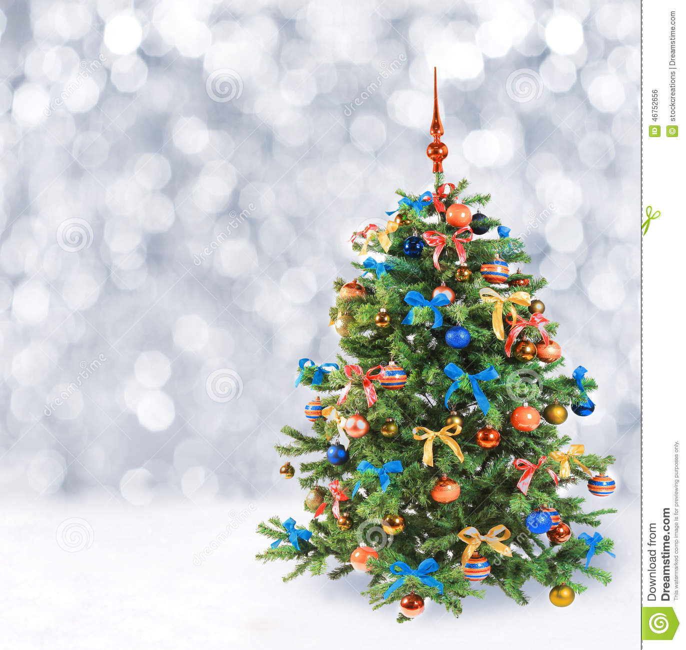 Snow Falling Background Wallpaper Festive Christmas Tree In Winter Snow Stock Photo Image