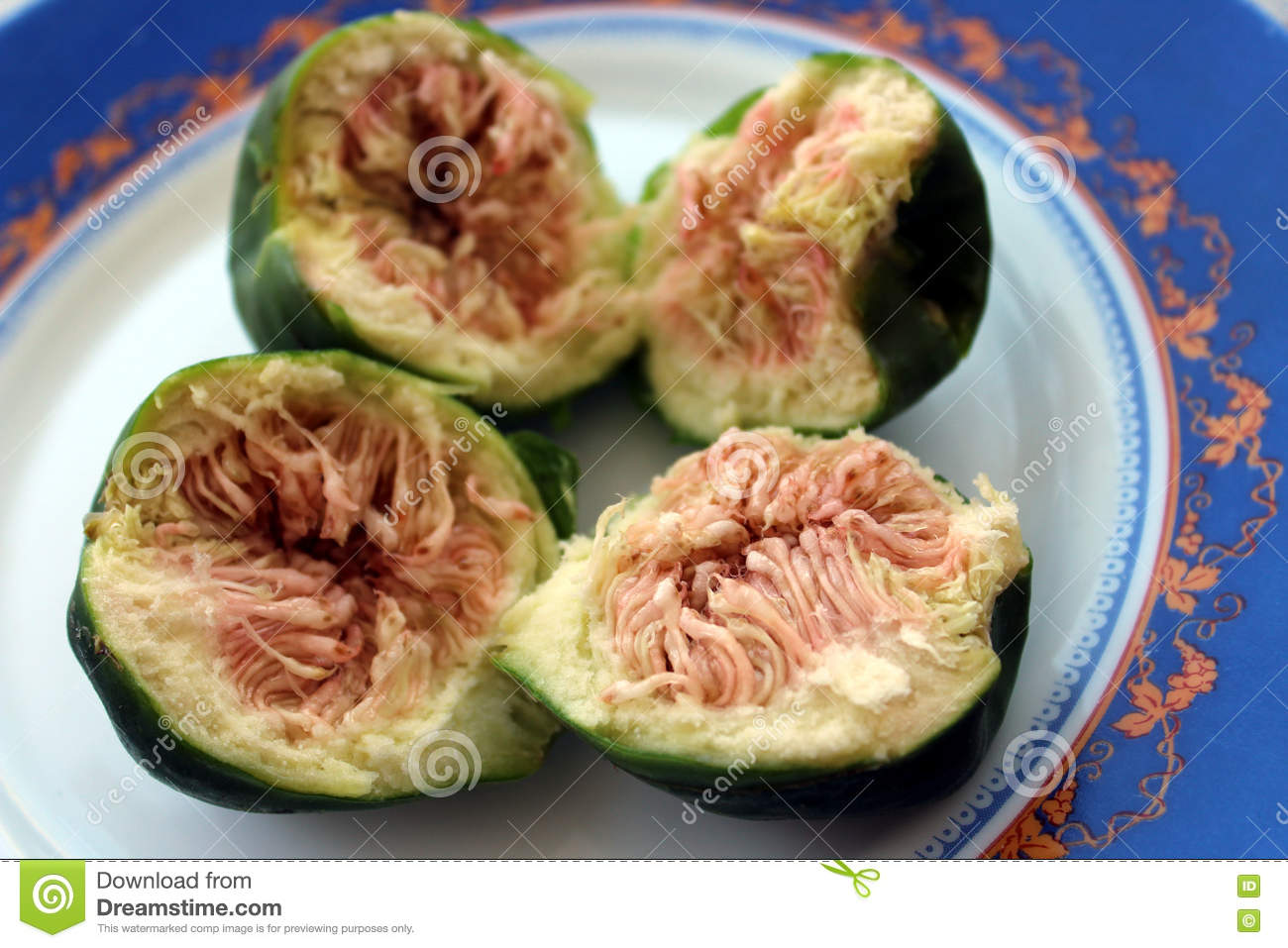 Plate With Food Top View Figs On Plate Top View Food Background Stock Photo