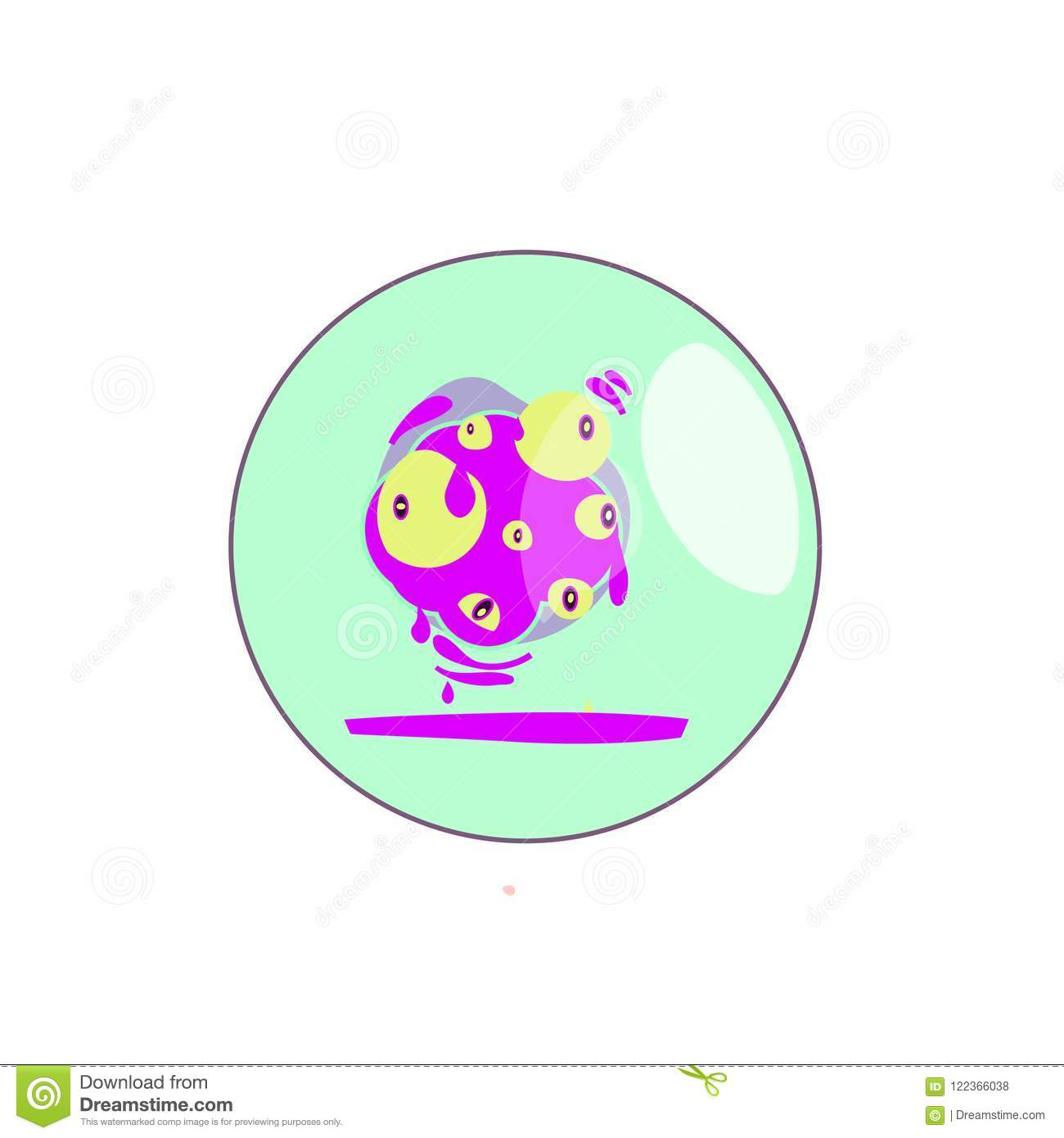 Chameleon Style Figure Of The Character Of The Bacterium Stock Vector