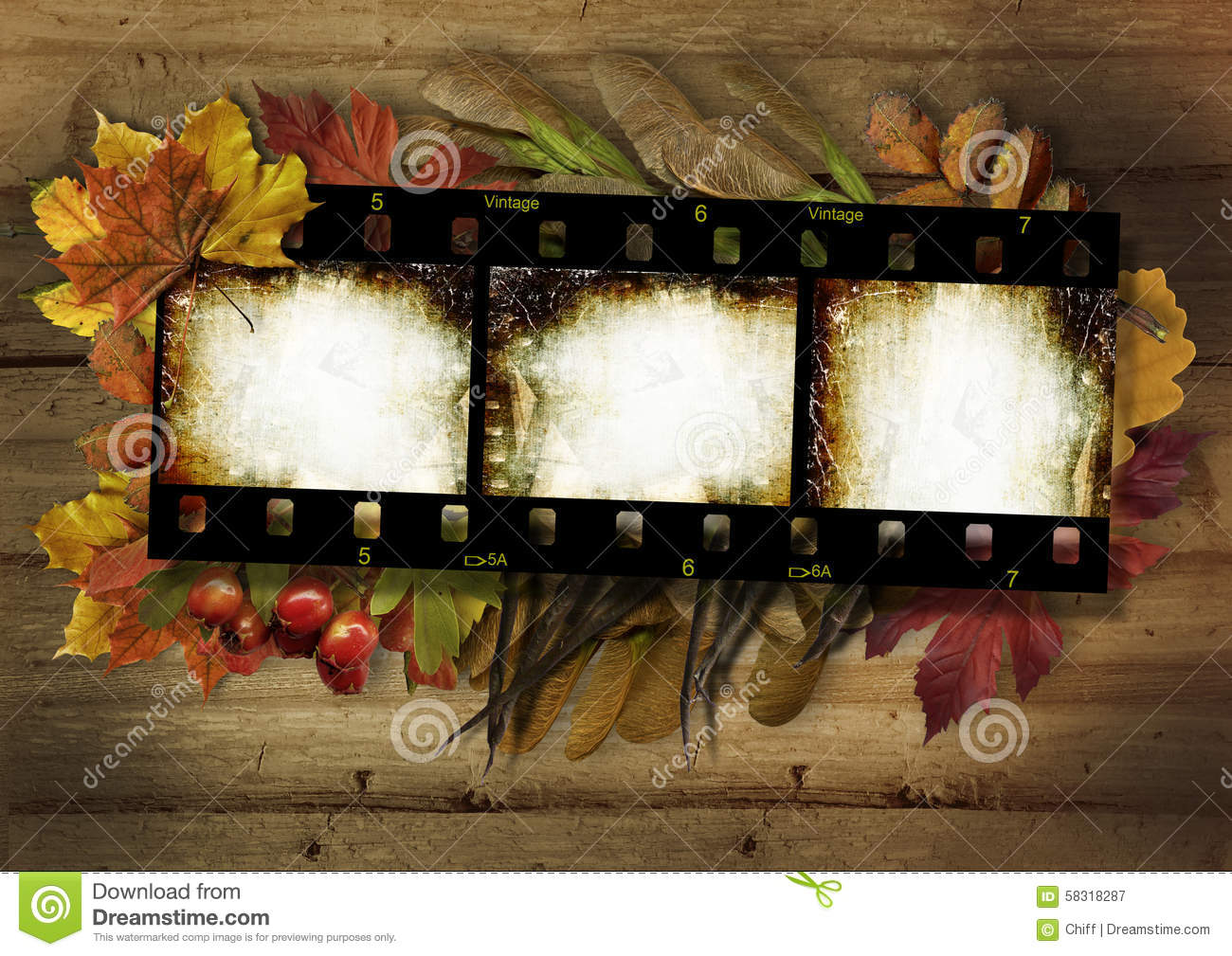 Fall Leaves Hd Wallpaper Film Strip And Autumn Border On Vintage Wooden Background
