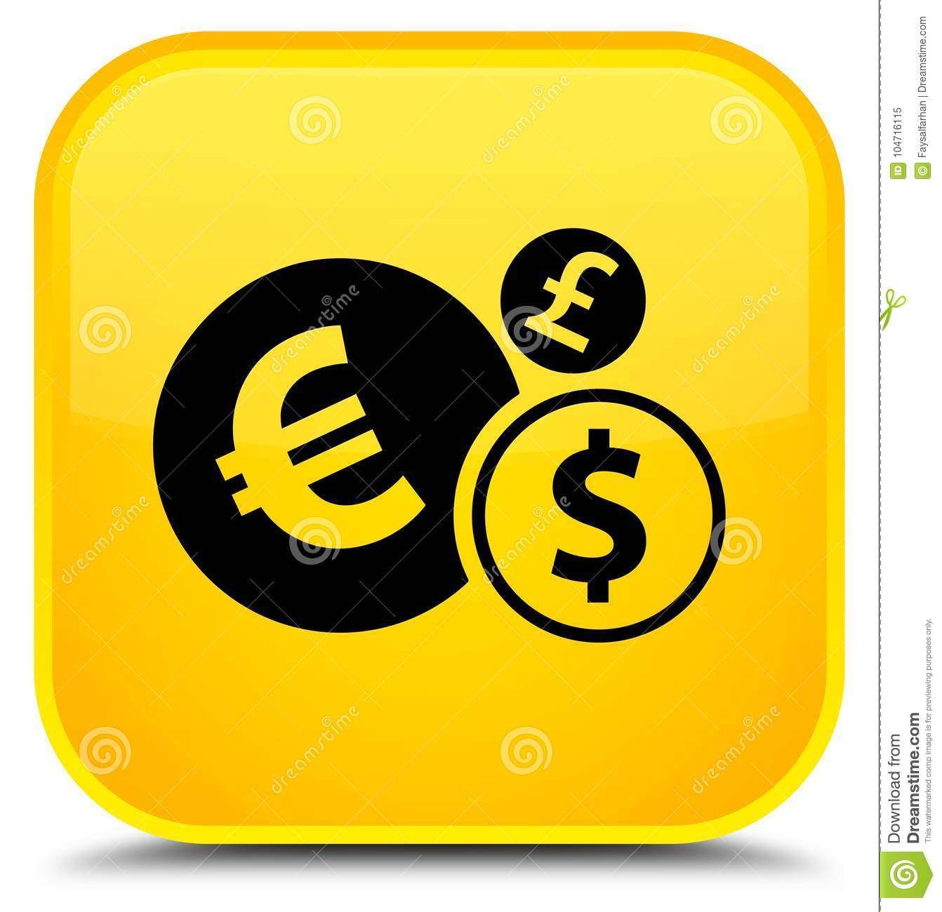Email Icon Isolated On Special Yellow Square Button Abstract Finances Icon Special Yellow Square Button Stock