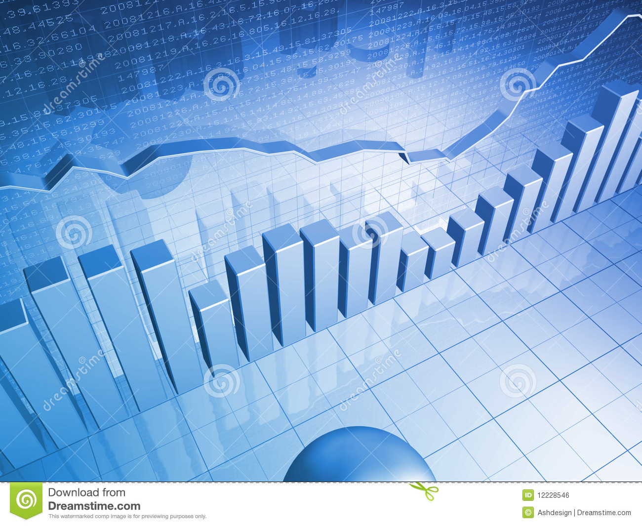 Economics Quotes Wallpapers Financial Graph With Bar Charts Royalty Free Stock Image