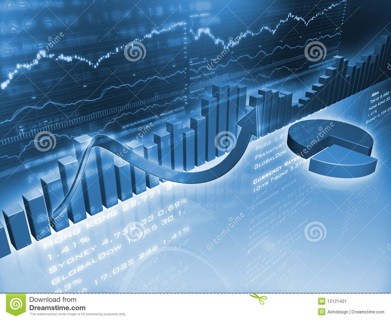 Economics Quotes Wallpapers Financial Graphs With Pie Chart Stock Image Image 12121421