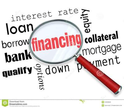 Financing Magnifying Glass Words Load Mortgage Stock Illustration - Illustration of banking ...