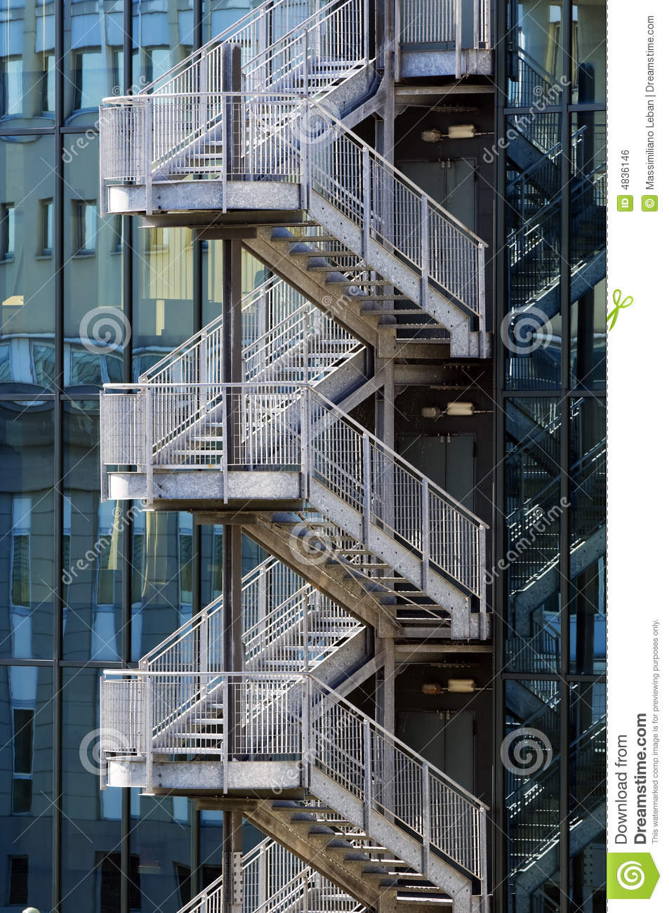 Stair Banister Fire Escape Stair Royalty Free Stock Image - Image: 4836146