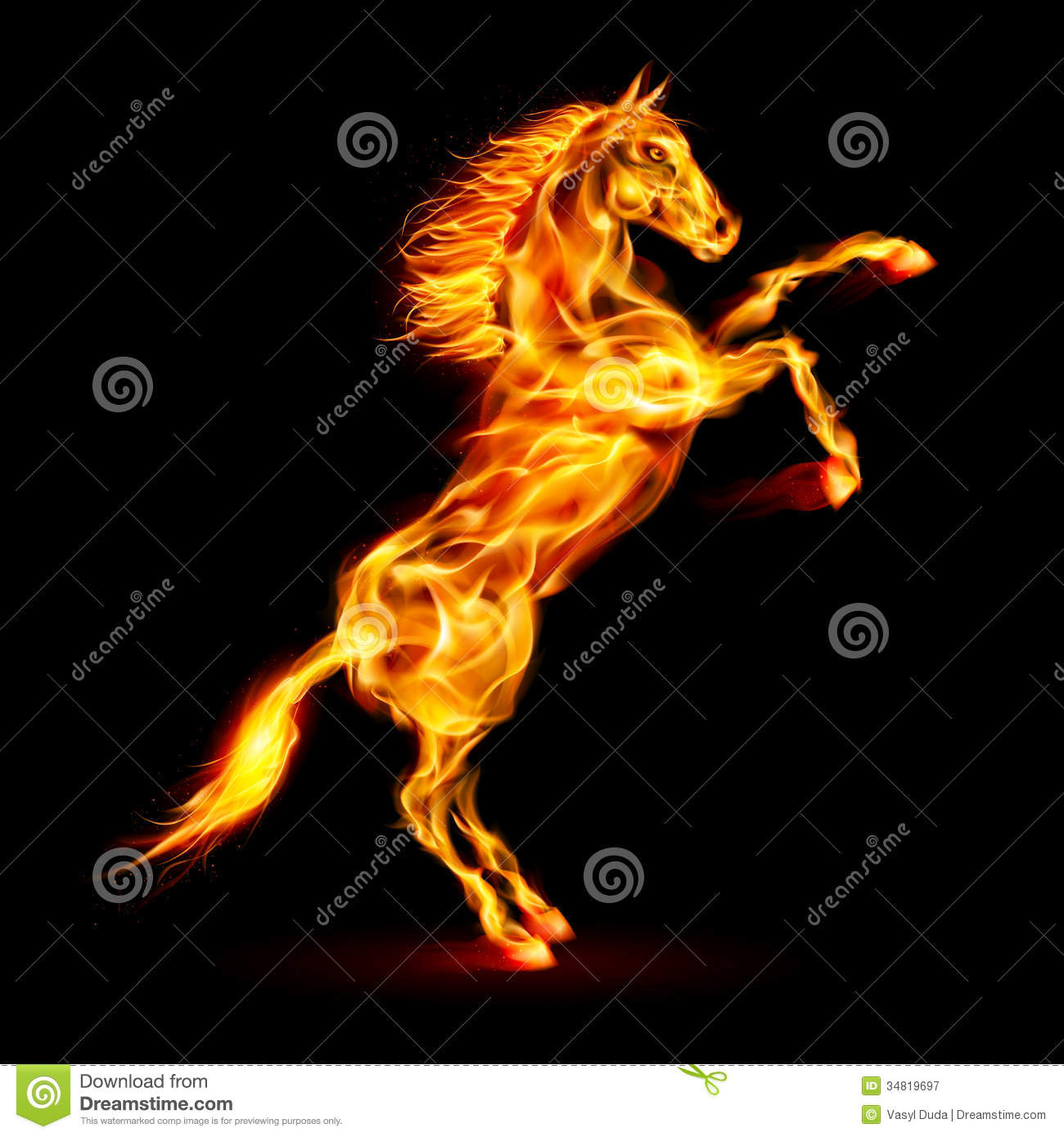 Fire And Water Hd Wallpapers Fire Horse Rearing Up Stock Vector Illustration Of Free