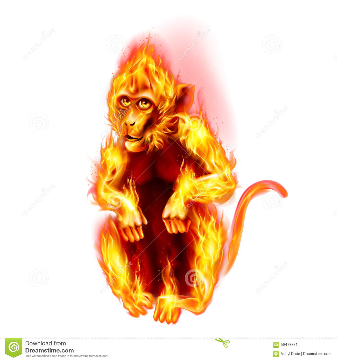 Happy New Year 3d Wallpaper Download Fire Monkey Stock Illustration Image 59478331