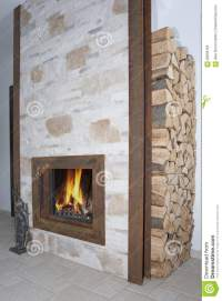 Fireplace In Metal Frame Stock Photo - Image: 60658166