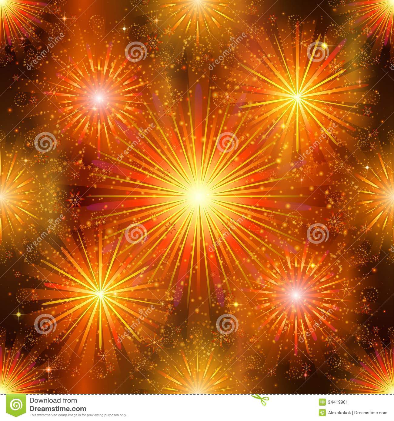 Birthday Background Pink Fireworks, Seamless Stock Vector. Image Of Holiday, Orange