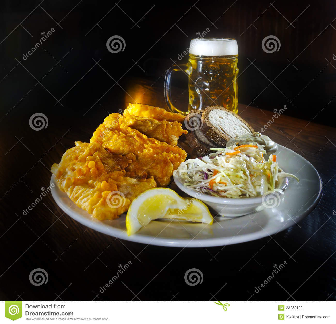 Dinner Free Fish Fry And Beer Stock Image. Image Of Bowl, Meal