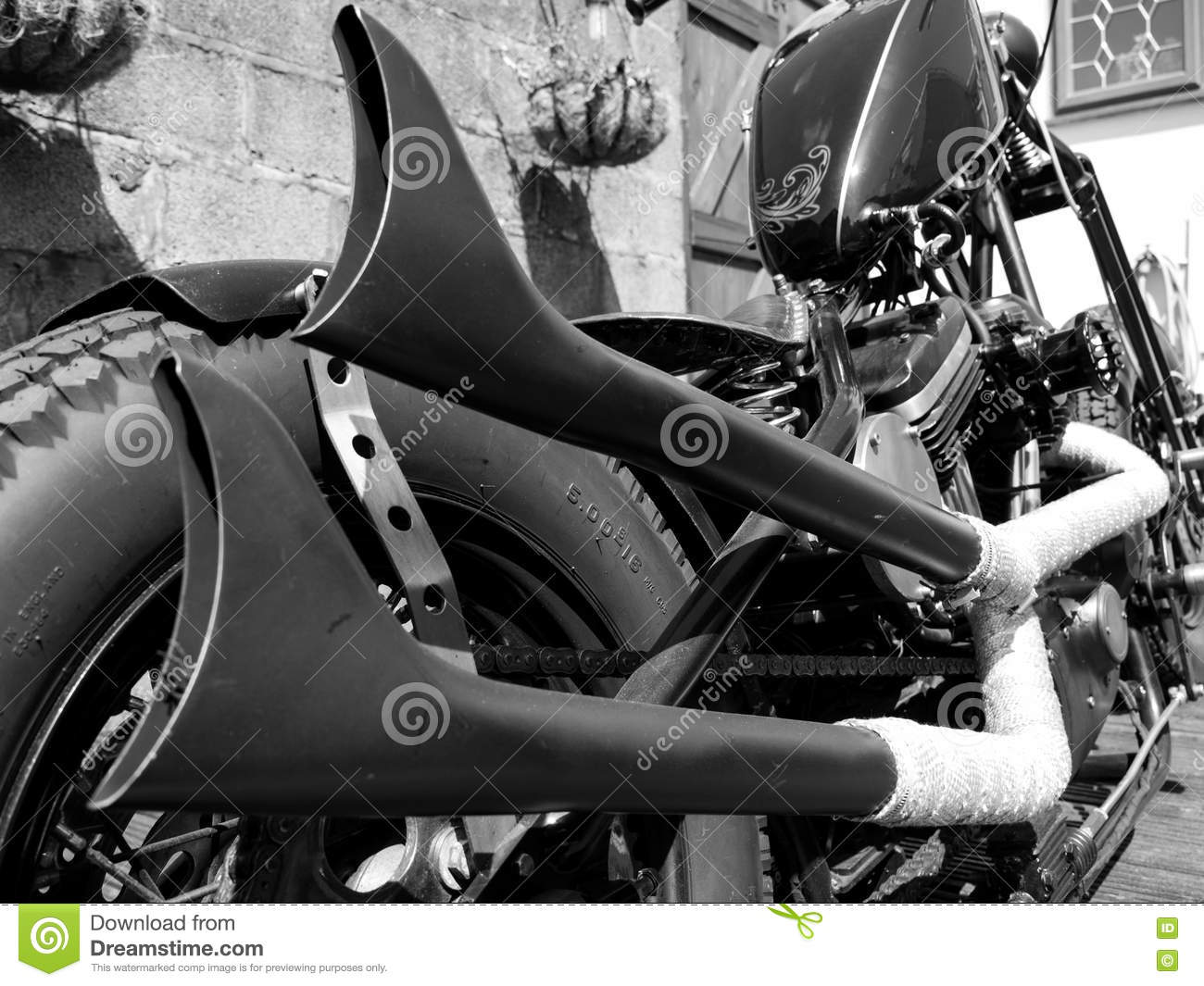 Fishtail Exhaust Pipes Stock Photo