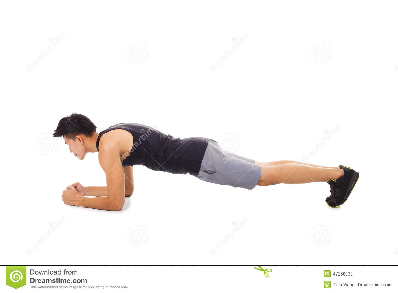 Fitness Lifestyle Wangen Fitness Man Doing Plank Core Exercise Working Out Stock
