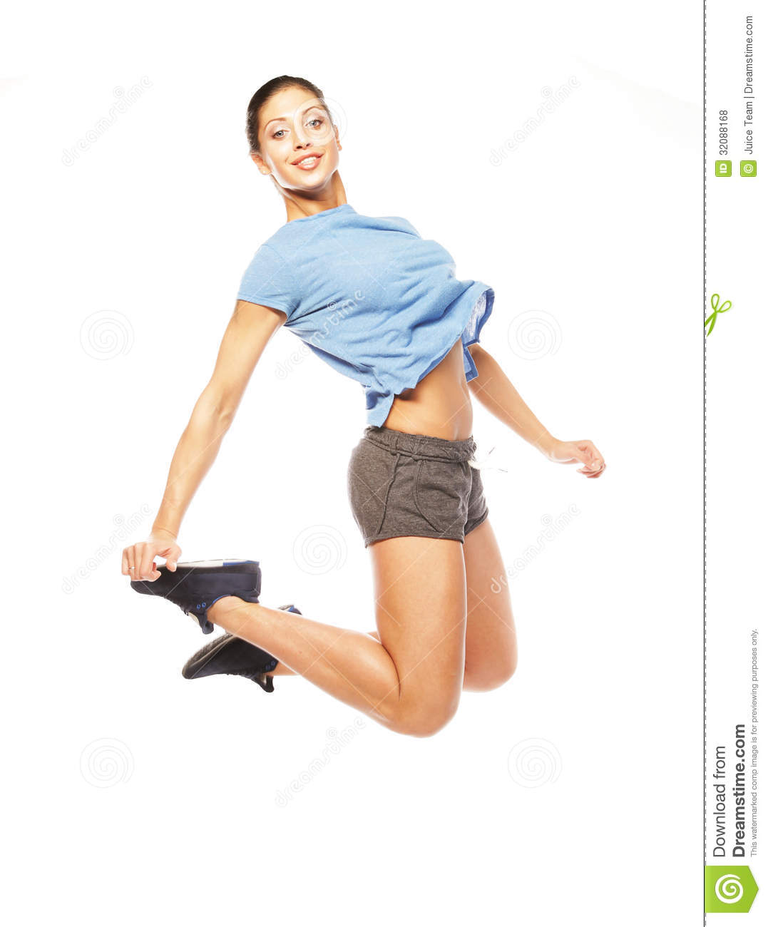 Jumping Fitness Fitness Woman Jumping Of Joy Stock Photo Image 32088168