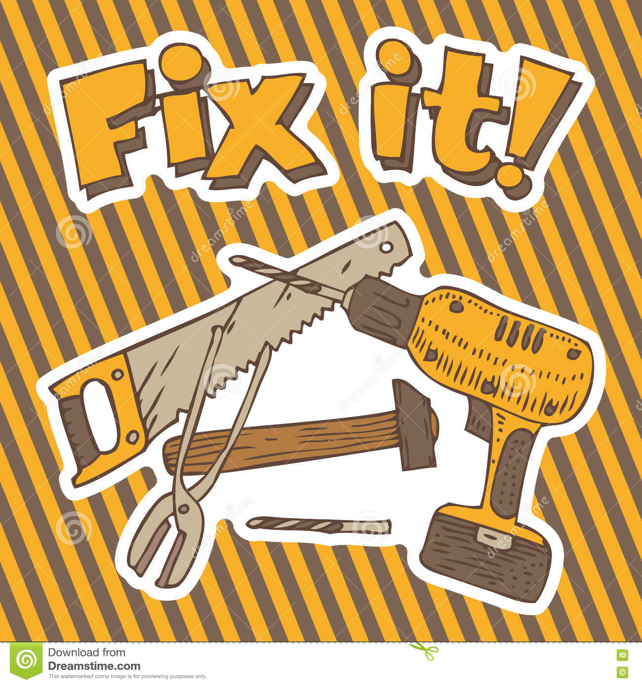 Repair Fixing Fix It Composition With Tools Stock Illustration Illustration