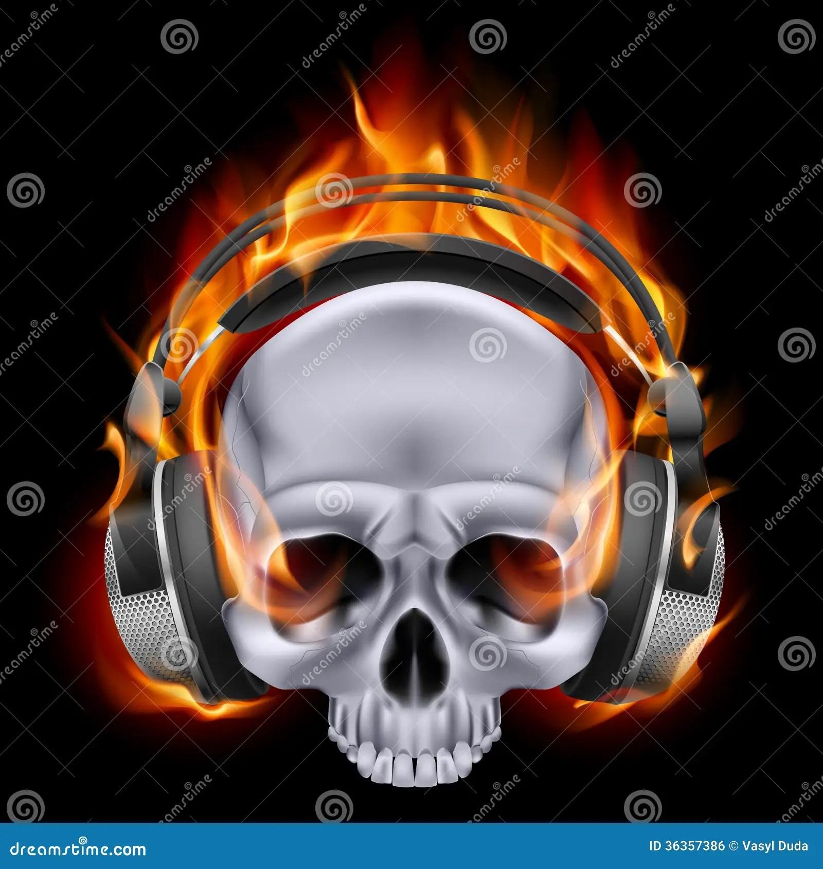 Confederate Flag Wallpaper Hd Flaming Skull In Headphones Stock Vector Image 36357386