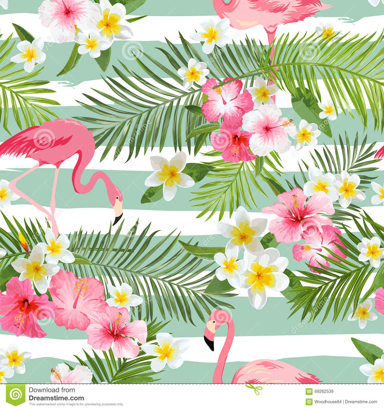 Floral Print Iphone Wallpaper Flamingo Background Tropical Flowers Background Stock