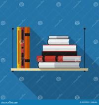 Flat Bookshelf With Long Shadow. Vector Icon Stock Vector ...