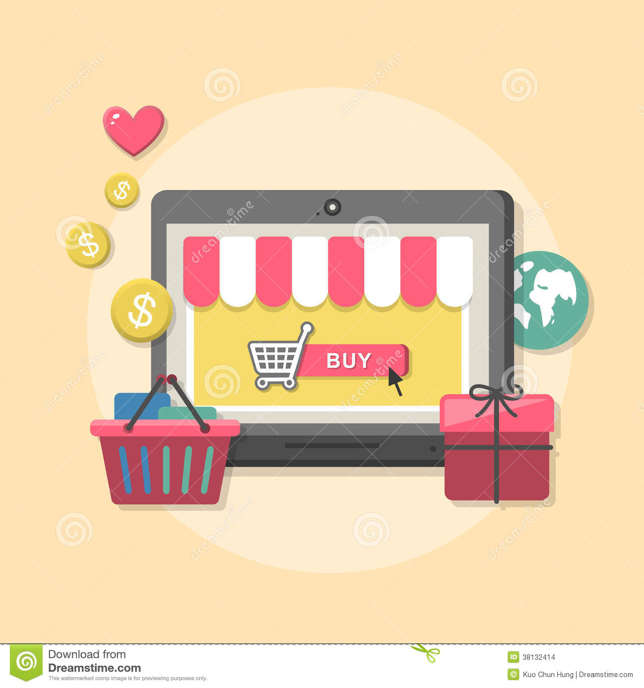 Online Decor Shopping Flat Design Concept With Icons Of Online Shop Ideas Symbol