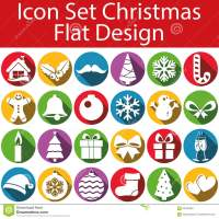 Flat Design Icon Set Christmas Stock Illustration - Image ...