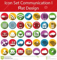 Flat Design Icon Set Communication I Stock Vector - Image ...